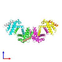 PDB 3r85 coloured by chain and viewed from the front.
