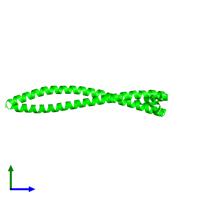 Dimeric assembly 1 of PDB entry 3s9g coloured by chemically distinct molecules and viewed from the side.