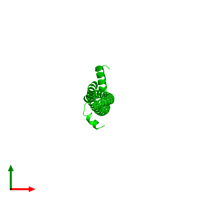 Dimeric assembly 1 of PDB entry 3s9g coloured by chemically distinct molecules and viewed from the top.