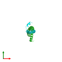 PDB 3s9g coloured by chain and viewed from the top.