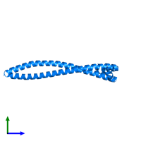PDB 3s9g contains 2 copies of Protein HEXIM1 in assembly 1. This protein is highlighted and viewed from the side.