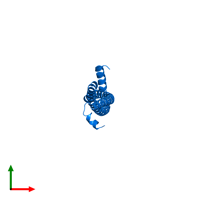 PDB 3s9g contains 2 copies of Protein HEXIM1 in assembly 1. This protein is highlighted and viewed from the top.