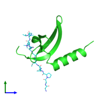 PDB 3svm coloured by chain and viewed from the front.