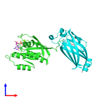 PDB 3t5g coloured by chain and viewed from the front.