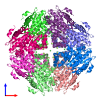 PDB 3ugv coloured by chain and viewed from the front.