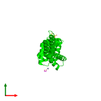 Monomeric assembly 2 of PDB entry 3urz coloured by chemically distinct molecules and viewed from the top.