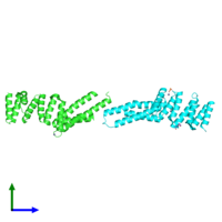 PDB 3urz coloured by chain and viewed from the side.