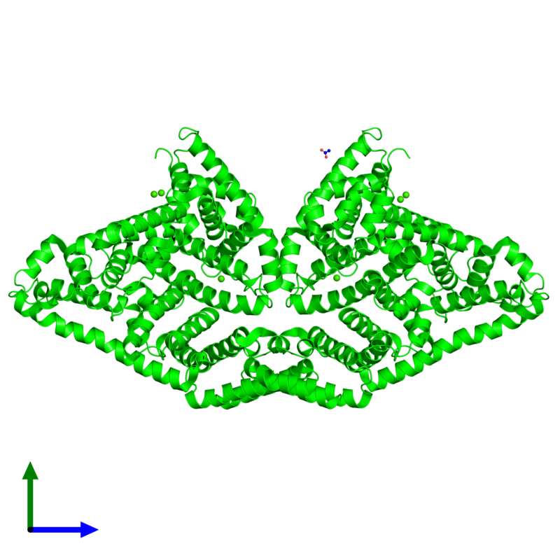 <div class='caption-body'><ul class ='image_legend_ul'>The deposited structure of PDB entry 3v03 coloured by chemically distinct molecules and viewed from the front. The entry contains: <li class ='image_legend_li'>2 copies of Albumin</li><li class ='image_legend_li'>2 non-polymeric entities<ul class ='image_legend_ul'><li class ='image_legend_li'>6 copies of CALCIUM ION</li><li class ='image_legend_li'>1 copy of ACETATE ION</li></ul></li></div>