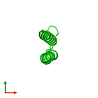 Monomeric assembly 1 of PDB entry 3v1a coloured by chemically distinct molecules and viewed from the top.