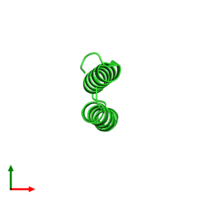 PDB 3v1a coloured by chain and viewed from the top.