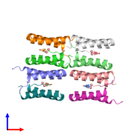 PDB 3v1d coloured by chain and viewed from the front.