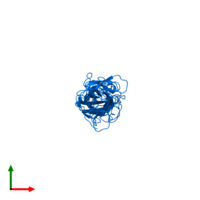 PDB 3vac contains 1 copy of CFA/I fimbrial subunit E in assembly 1. This protein is highlighted and viewed from the top.