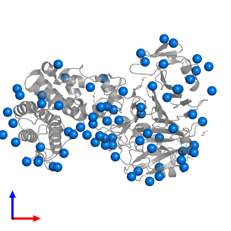 <div class='caption-body'>PDB entry 3vsn contains 75 copies of IODIDE ION in assembly 1. This small molecule is highlighted and viewed from the front.</div>
