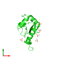 PDB 3vtu coloured by chain and viewed from the top.