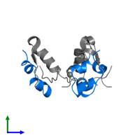 PDB 3w7y contains 3 copies of Insulin A chain in assembly 1. This protein is highlighted and viewed from the side.