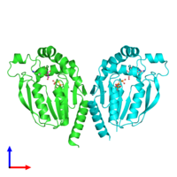 PDB 3w8r coloured by chain and viewed from the front.