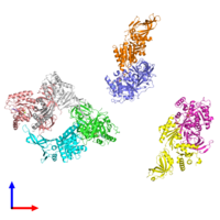 PDB 3wxm coloured by chain and viewed from the front.