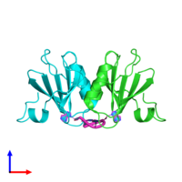 PDB 3wzi coloured by chain and viewed from the side.