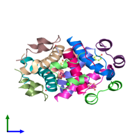 PDB 3zs2 coloured by chain and viewed from the side.