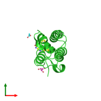 PDB 4alg coloured by chain and viewed from the top.
