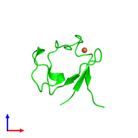 Monomeric assembly 1 of PDB entry 4ar6 coloured by chemically distinct molecules and viewed from the front.