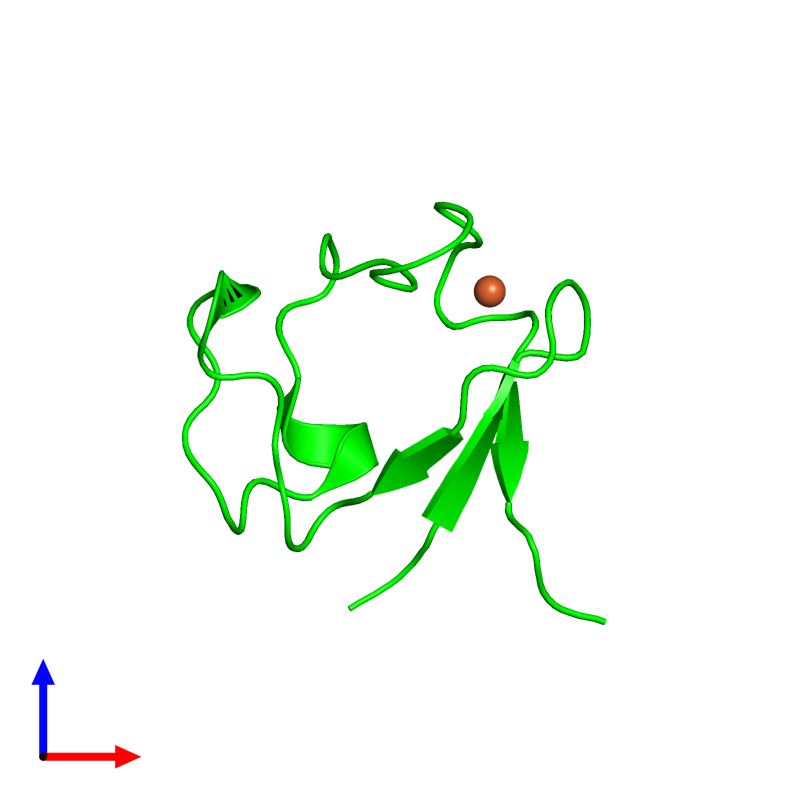 <div class='caption-body'><ul class ='image_legend_ul'> Monomeric assembly 1 of PDB entry 4ar6 coloured by chemically distinct molecules and viewed from the front. This assembly contains:<li class ='image_legend_li'>One copy of Rubredoxin</li><li class ='image_legend_li'>One copy of FE (III) ION</li></ul></div>