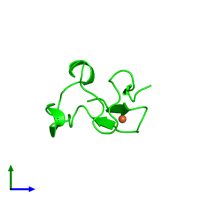 Monomeric assembly 1 of PDB entry 4ar6 coloured by chemically distinct molecules and viewed from the side.