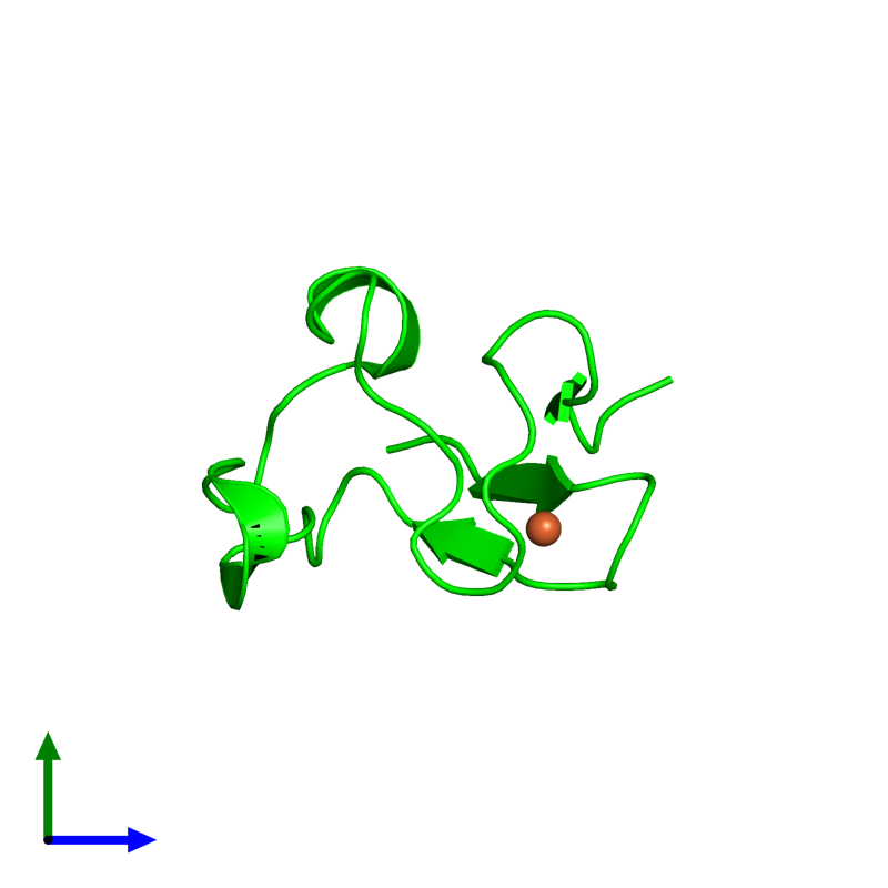 <div class='caption-body'><ul class ='image_legend_ul'> Monomeric assembly 1 of PDB entry 4ar6 coloured by chemically distinct molecules and viewed from the side. This assembly contains:<li class ='image_legend_li'>One copy of Rubredoxin</li><li class ='image_legend_li'>One copy of FE (III) ION</li></ul></div>