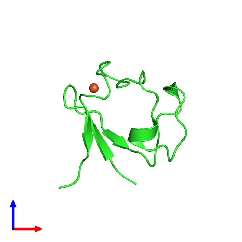 <div class='caption-body'><ul class ='image_legend_ul'>The deposited structure of PDB entry 4ar6 coloured by chain and viewed from the front. The entry contains: <li class ='image_legend_li'>1 copy of Rubredoxin</li><li class ='image_legend_li'>There is 1 non-polymeric molecule<ul class ='image_legend_ul'><li class ='image_legend_li'>1 copy of FE (III) ION</li></ul></li></div>