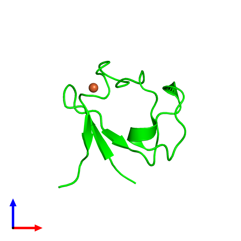 <div class='caption-body'><ul class ='image_legend_ul'>The deposited structure of PDB entry 4ar6 coloured by chemically distinct molecules and viewed from the front. The entry contains: <li class ='image_legend_li'>1 copy of Rubredoxin</li><li class ='image_legend_li'>There is 1 non-polymeric molecule<ul class ='image_legend_ul'><li class ='image_legend_li'>1 copy of FE (III) ION</li></ul></li></div>