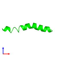 Monomeric assembly 1 of PDB entry 4b19 coloured by chemically distinct molecules and viewed from the side.