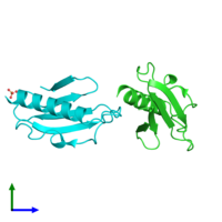 PDB 4bhr coloured by chain and viewed from the side.