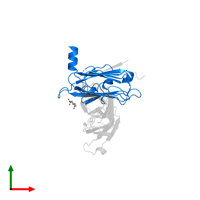 PDB 4bq8 contains 1 copy of RGM domain family member B in assembly 1. This protein is highlighted and viewed from the top.