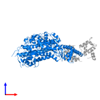 PDB 4byf contains 1 copy of Unconventional myosin-Ic in assembly 1. This protein is highlighted and viewed from the side.