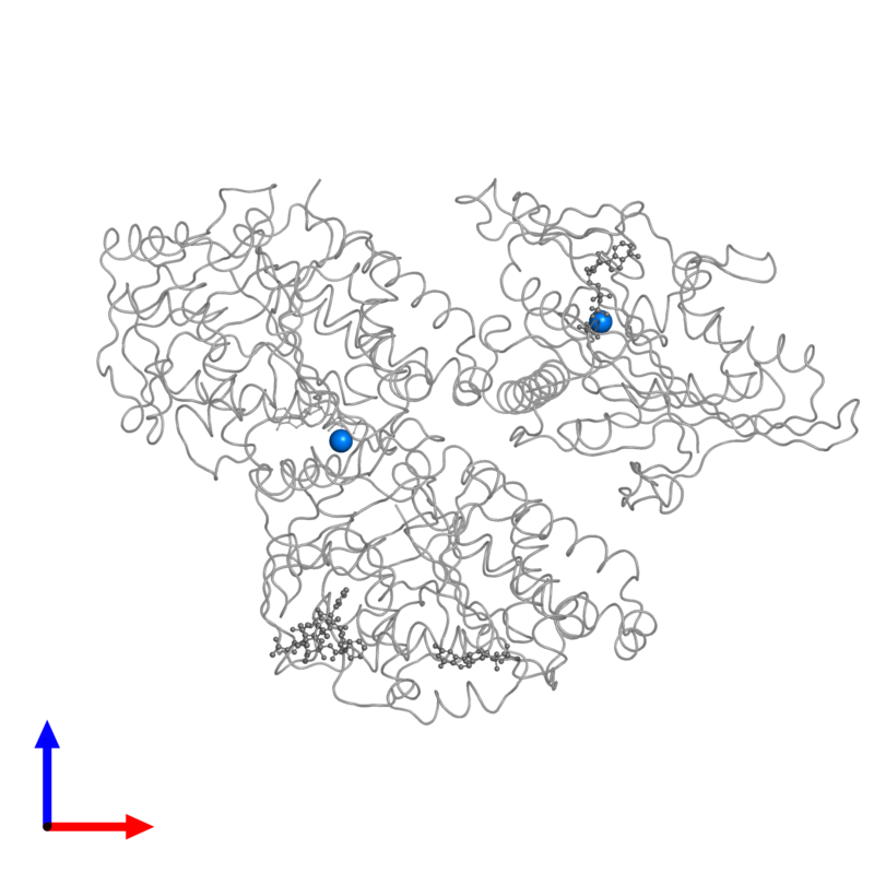 <div class='caption-body'>PDB entry 4ck7 contains 2 copies of MAGNESIUM ION in assembly 1. This small molecule is highlighted and viewed from the front.</div>