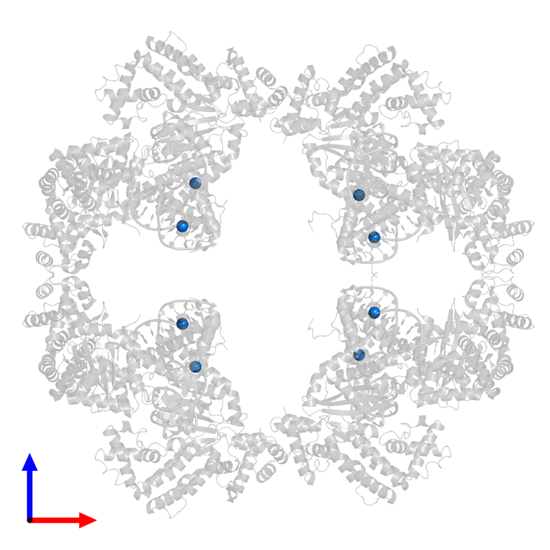 <div class='caption-body'>PDB entry 4d1q contains 8 copies of SODIUM ION in assembly 1. This small molecule is highlighted and viewed from the front.</div>