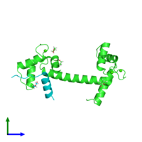 PDB 4ehq coloured by chain and viewed from the front.