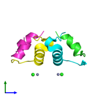 PDB 4ewx coloured by chain and viewed from the side.