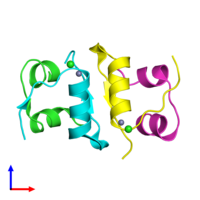 PDB 4ex1 coloured by chain and viewed from the front.
