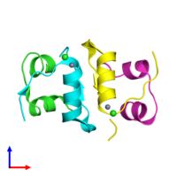PDB 4ey9 coloured by chain and viewed from the front.