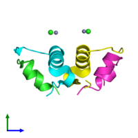 PDB 4ey9 coloured by chain and viewed from the side.