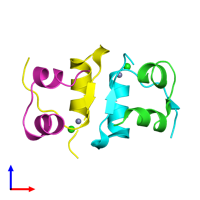 PDB 4eyd coloured by chain and viewed from the front.