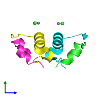 PDB 4eyd coloured by chain and viewed from the side.
