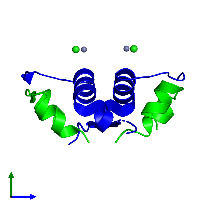 <div class='caption-body'><ul class ='image_legend_ul'>The deposited structure of PDB entry 4eyd coloured by chemically distinct molecules and viewed from the side. The entry contains: <li class ='image_legend_li'>2 copies of Insulin A chain</li><li class ='image_legend_li'>2 copies of Insulin B chain</li><li class ='image_legend_li'>2 non-polymeric entities<ul class ='image_legend_ul'><li class ='image_legend_li'>2 copies of ZINC ION</li><li class ='image_legend_li'>2 copies of CHLORIDE ION</li></ul></li></div>