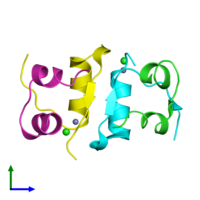 PDB 4f0o coloured by chain and viewed from the front.