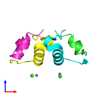 PDB 4f0o coloured by chain and viewed from the side.