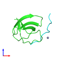 PDB 4f14 coloured by chain and viewed from the front.