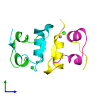 PDB 4f1a coloured by chain and viewed from the front.