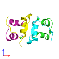 PDB 4f1d coloured by chain and viewed from the front.