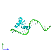 PDB 4f2j coloured by chain and viewed from the side.